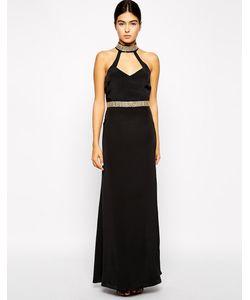 VLabel London | Платье Макси С Декорированными Бретелями И Поясом Strand