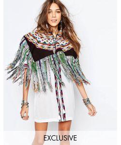 Hiptipico | Накидка В Полоску С Цветочной Вышивкой И Бахромой Handmade