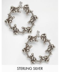 Regal Rose | Посеребренные Серьги-Кольца Dark Wreath