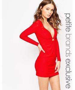 Lipstick Boutique Petite | Платье Мини С Глубоким Вырезом И Золотистым Кольцом Lipstick Boutique
