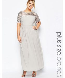Lovedrobe Luxe | Платье Макси С Отделкой Пайетками На Топе Серый