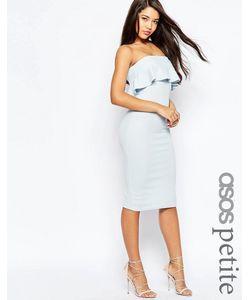 ASOS PETITE | Фактурное Платье Миди С Оборкой Светло-Голубой