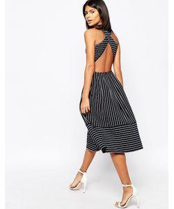 Asos | Приталенное Платье Миди С Перекрестными Планками На Спине