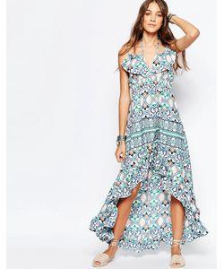 Mela Loves London   Асимметричное Платье Макси С Цветочным Принтом