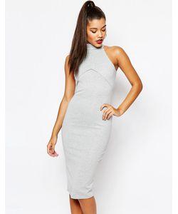 MISSGUIDED | Облегающее Платье C Высоким Воротом Серый