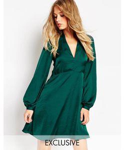 Needle & Thread | Атласное Короткое Приталенное Платье С Рукавом-Колоколом Черный