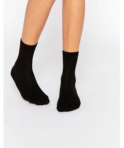 Asos | Однотонные Носки В Рубчик Черный