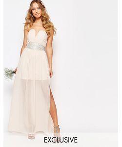 TFNC | Платье Макси С Декорированной Талией И Складками Wedding Телесный