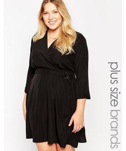 Yumi Plus | Платье Размера Плюс С Запахом И Dобразной Пряжкой Yumi