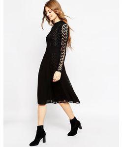 Asos | Платье Миди С Кружевом И Дизайном-Решеткой Premium Черный