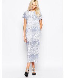 The WhitePepper | Платье-Рубашка Макси С Волнообразным Принтом