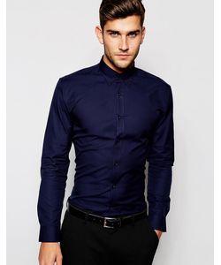 Selected Homme | Рубашка Зауженного Кроя Темно-Синий