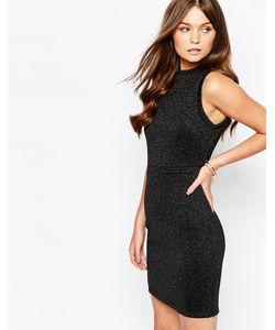 First & I | Облегающее Платье Металлик С Высокой Горловиной Черный