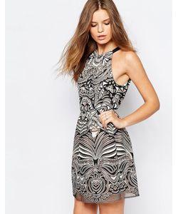 BCBGMAXAZRIA | Кружевное Платье Мини С Выжженным Эффектом Bcbg Maxazria Чрнкоричнроз.Гребень0h6