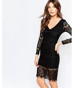 Lipstick Boutique | Облегающее Кружевное Платье Nita Черное Кружево