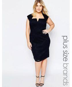 Goddiva plus | Кружевное Платье С Вырезом На Горловине Темно-Синий
