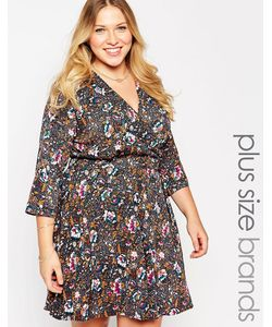 Yumi Plus   Платье С Запахом D-Кольцом И Принтом В Стиле 70-Х
