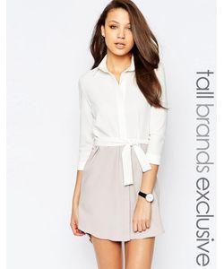 Alter Tall | Платье Рубашка Расцветки Колор Блок С Пуговицами И Пояском На Талии