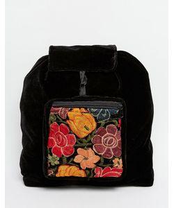 Hiptipico | Бархатный Рюкзак Ручной Работы С Цветочной Вышивкой Черный