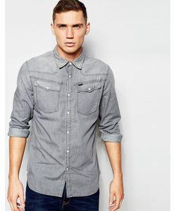 G-Star | Серая Классическая Джинсовая Рубашка В Стиле Вестерн 3301 Выбеленный