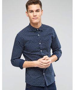 Asos | Темно-Синяя Рубашка Скинни С Длинными Рукавами И Принтом Темно-Синий