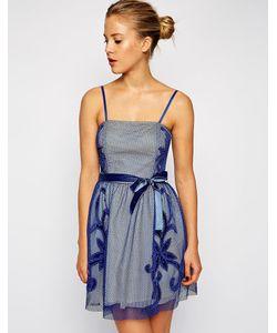 Asos | Платье Для Выпускного С Сетчатой Аппликацией Синий
