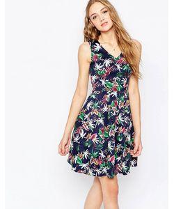 Poppy Lux | Приталенное Платье Со Свободной Юбкой И Тропическим Принтом Saran