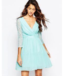 Laced In Love | Короткое Приталенное Платье С Кружевными Рукавами Aqua