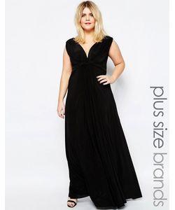 Goddiva plus | Платье Макси Размера Плюс С Узелком Спереди Черный