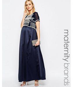 Maya Maternity | Платье Макси Для Беременных С Декорированным Лифом Темно-Синий
