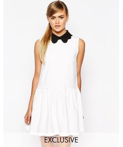 Dahlia | Платье С Заниженной Талией И Съемным Воротником Кремовый