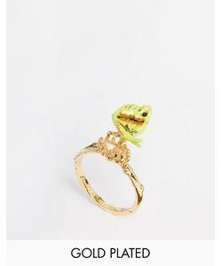 Les Nereides | Кольцо С Подвеской-Бабочкой И Камнем Les Neriedes Зеленый