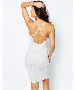 Asos | Платье-Сорочка В Рубчик С Перекрестной Спинкой Серый