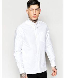 Fred Perry Laurel Wreath | Белая Оксфордская Рубашка Слим С Карманом