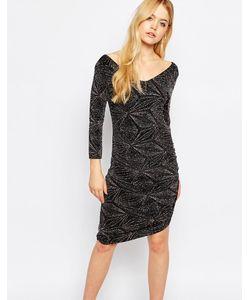 ICHI | Облегающее Платье С Ромбовидным Принтом Черный