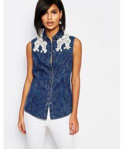Vero Moda | Джинсовая Рубашка Без Рукавов С Кружевной Отделкой Деним
