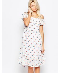 The WhitePepper | Платье С Баской И Принтом Мороженого