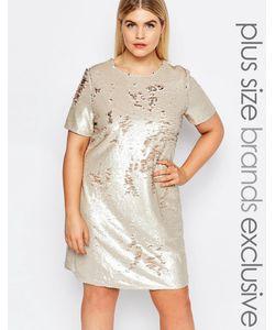 Club L Plus   Цельнокройное Платье С Короткими Рукавами И Пайетками