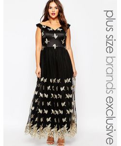 Chi Chi Plus   Платье Макси С Широким Вырезом И Вышивкой Chi Chi London Plus