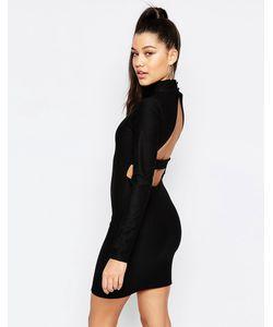 MISSGUIDED | Облегающее Платье С Вырезом На Спине Черный