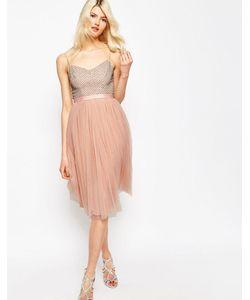 Needle & Thread | Тюлевое Платье С Отделкой Coppelia Приглушенный Персиковый