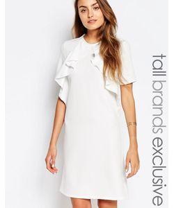 Alter Tall | Цельнокройное Платье С Короткими Рукавами И Оборкой Кремовый
