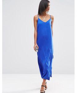 Asos | Платье Макси На Бретельках Синий
