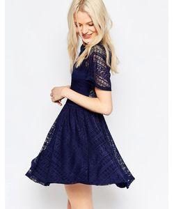 Asos | Короткое Приталенное Платье С Кружевной Спинкой И Вырезом Капелькой Rare