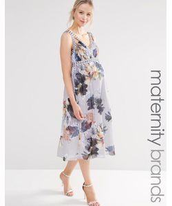 Little Mistress Maternity | Короткое Приталенное Платье Для Беременных С Цветочным Принтом И Глубоким Вырезом