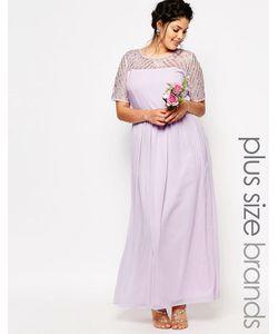 Lovedrobe Luxe | Шифоновое Платье Макси С Отделкой Фиолетовый