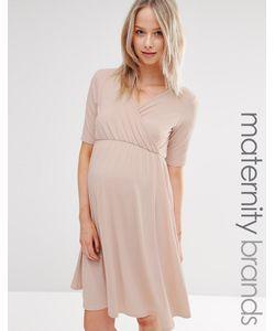 Bluebelle Maternity | Платье С Запахом И Короткими Рукавами Розовый