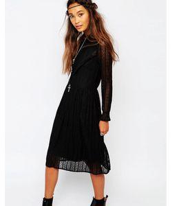 Navy | Кружевное Платье С Присборенной Юбкой London Черный