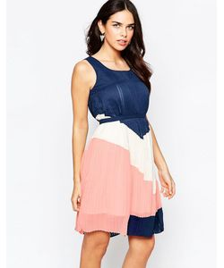 Lavand.   Цельнокройное Платье Колор Блок С Поясом Lavand B