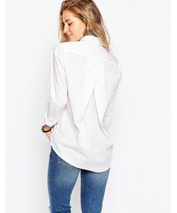 Asos   Белая Рубашка Бойфренда Со Складкой Сзади